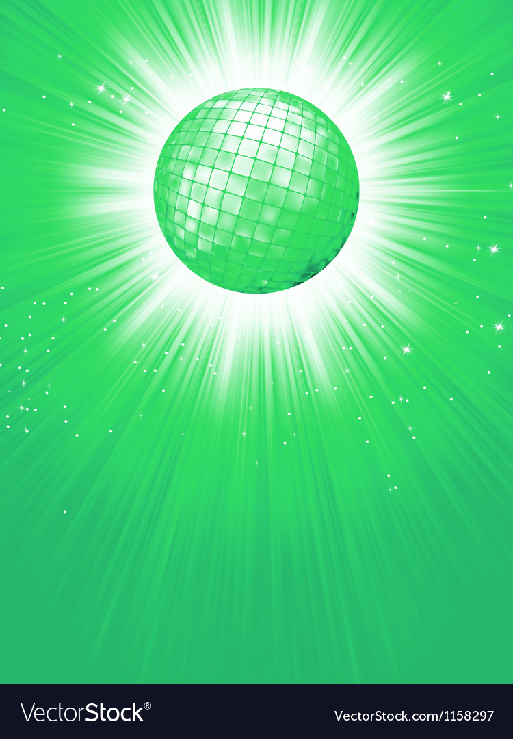 Green disco rays with stars eps 8 vector | Price: 1 Credit (USD $1)