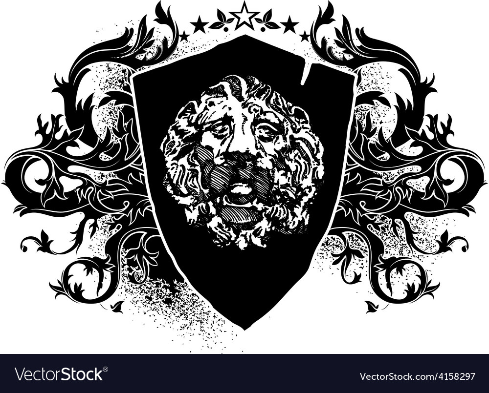 Lion shield design elements vector | Price: 1 Credit (USD $1)