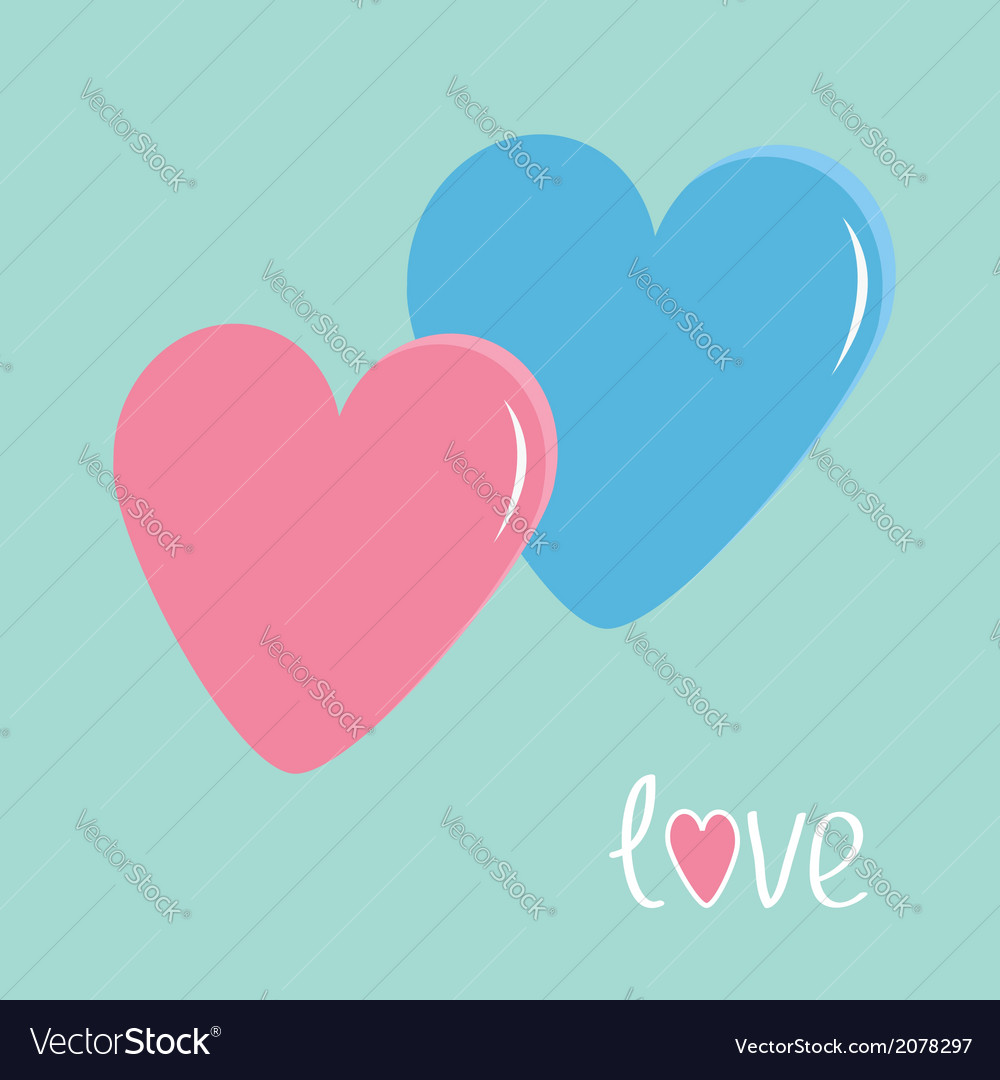 Pink and blue hearts love card vector