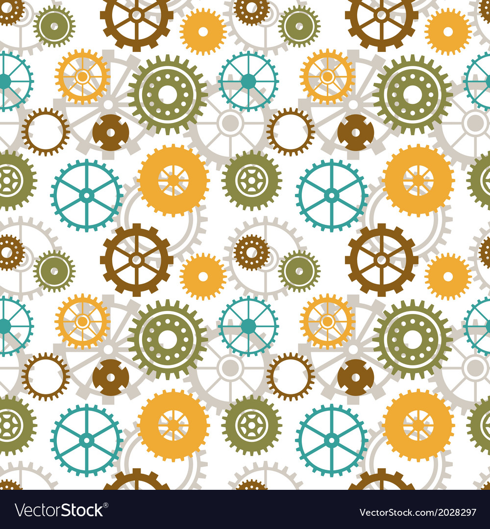 Seamless background of color gear wheels vector | Price: 1 Credit (USD $1)