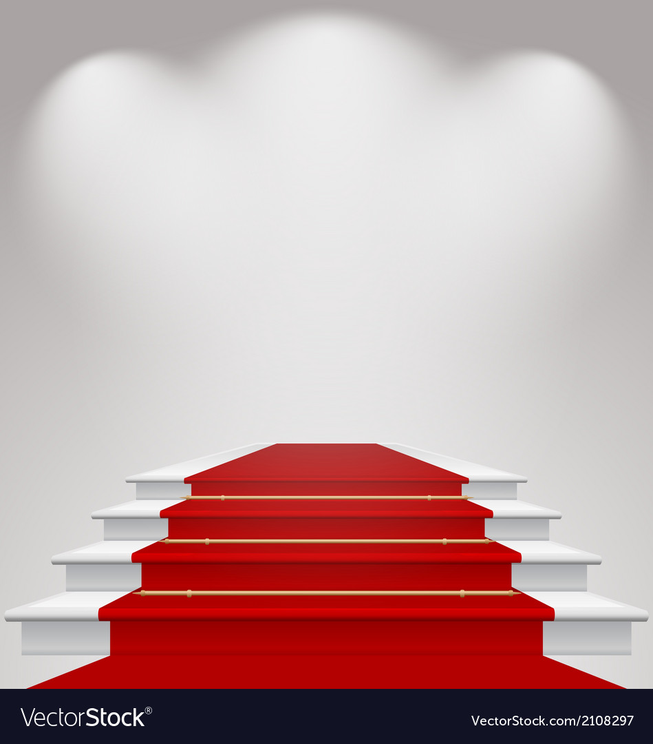 Stairs covered with red carpet scene illuminated vector | Price: 1 Credit (USD $1)