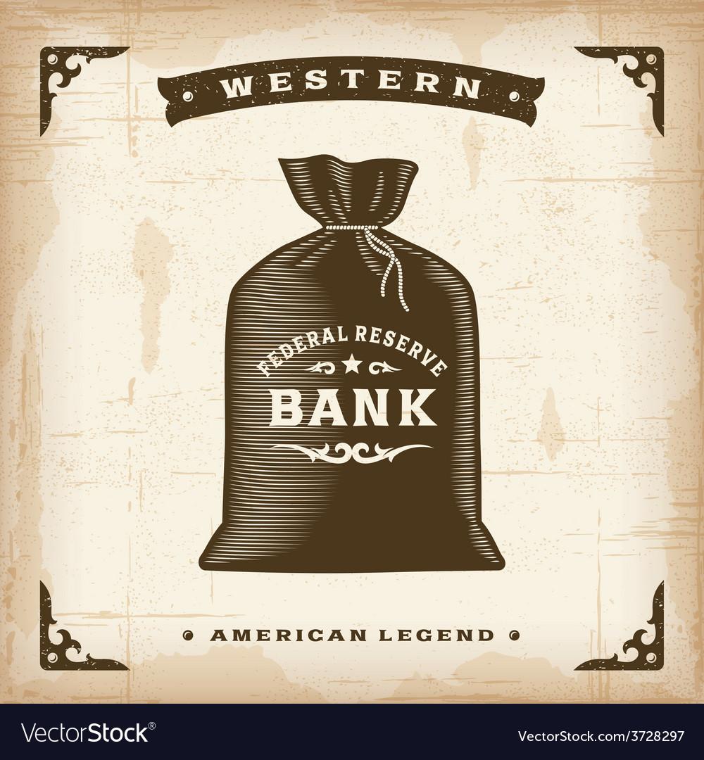 Vintage western money bag vector | Price: 3 Credit (USD $3)