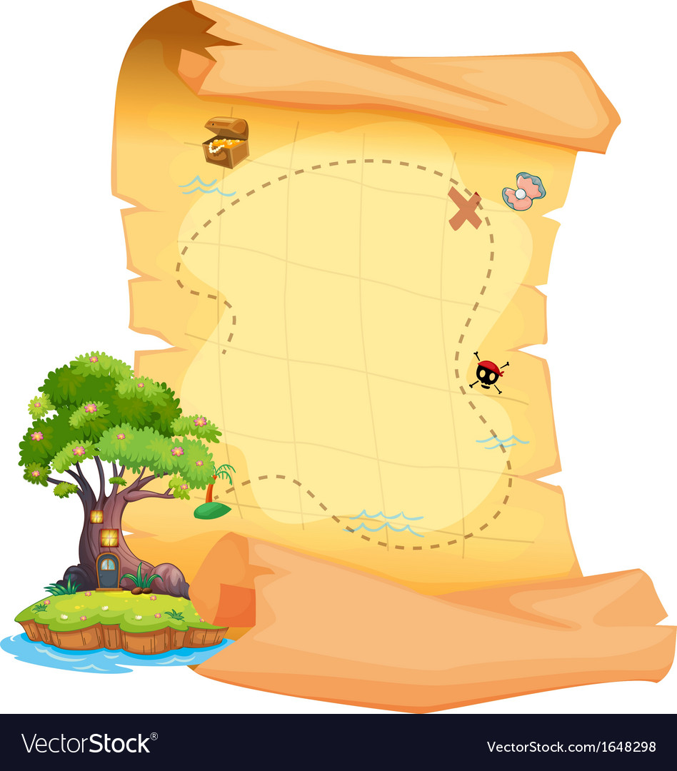 A treasure map with an island vector