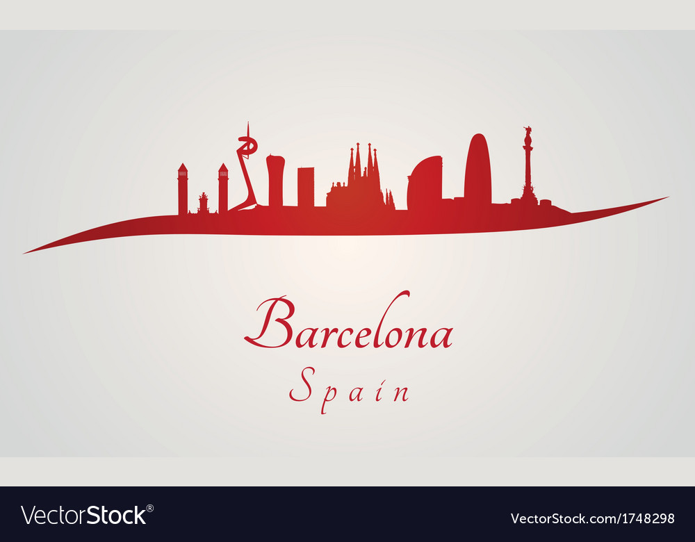 Barcelona skyline in red and gray background vector | Price: 1 Credit (USD $1)