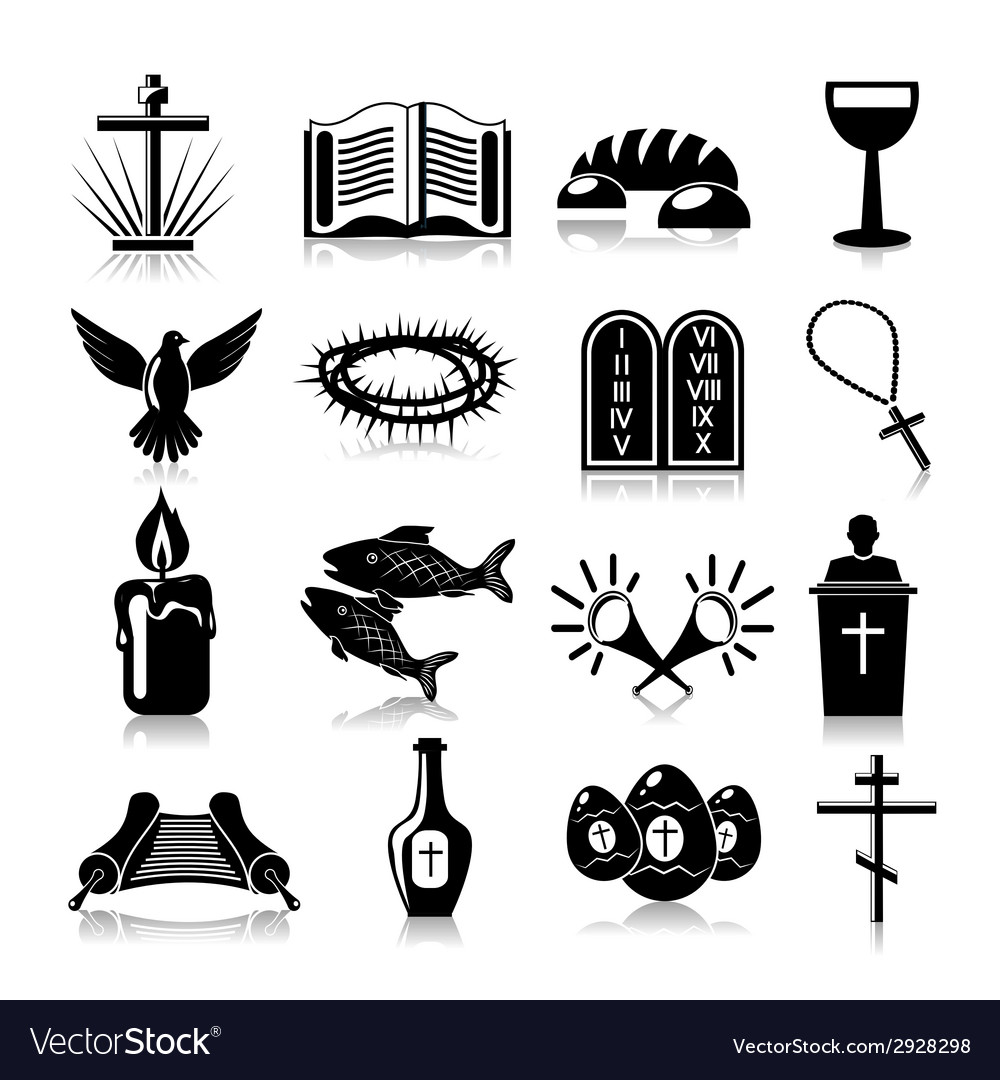Christianity icons set black vector | Price: 1 Credit (USD $1)