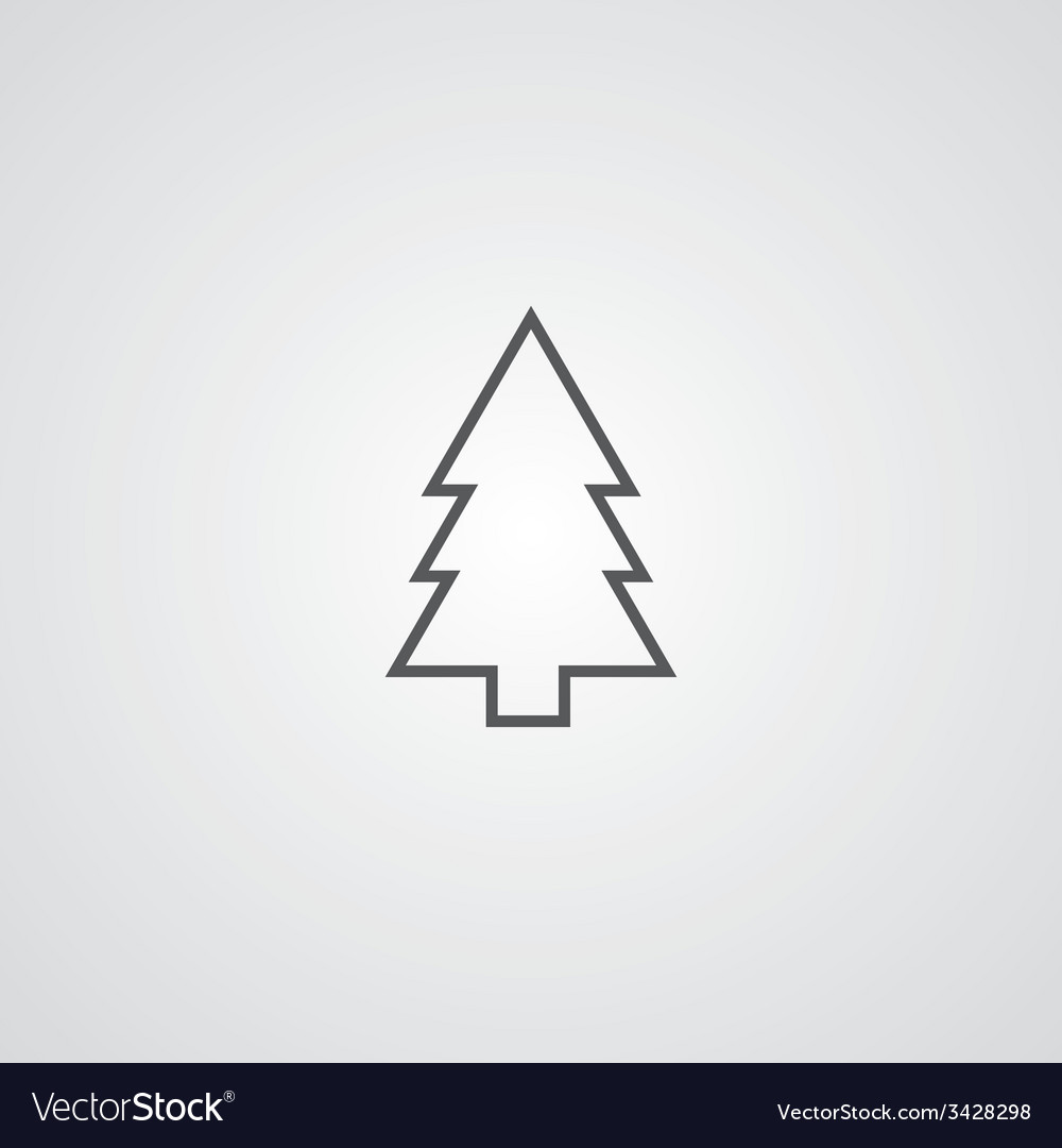 Fir-tree outline symbol dark on white background vector | Price: 1 Credit (USD $1)
