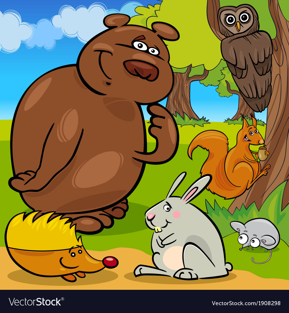 Forest wild animals cartoon group vector | Price: 3 Credit (USD $3)