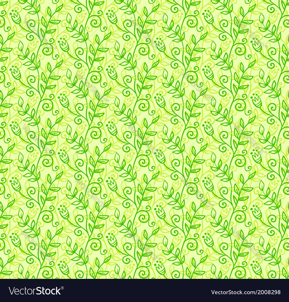 Green doodle foliage seamless pattern vector | Price: 1 Credit (USD $1)