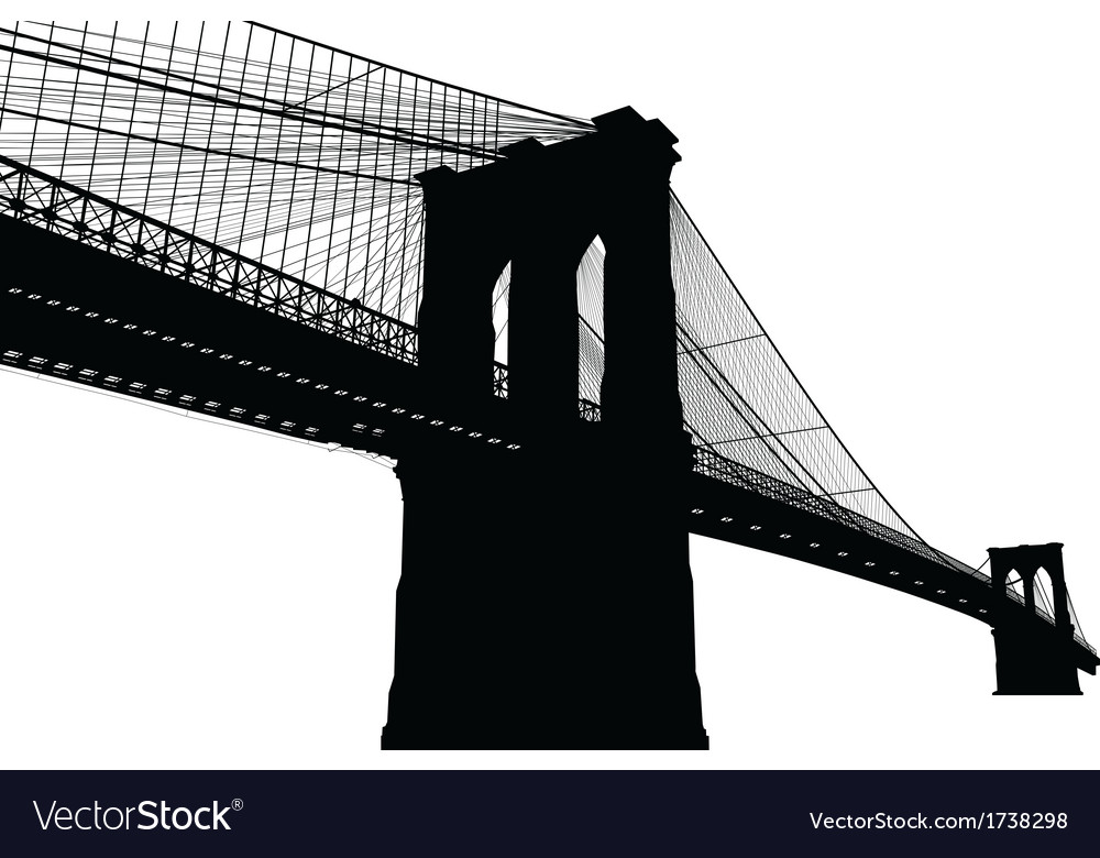 New york brooklyn bridge black silhouette vector | Price: 1 Credit (USD $1)