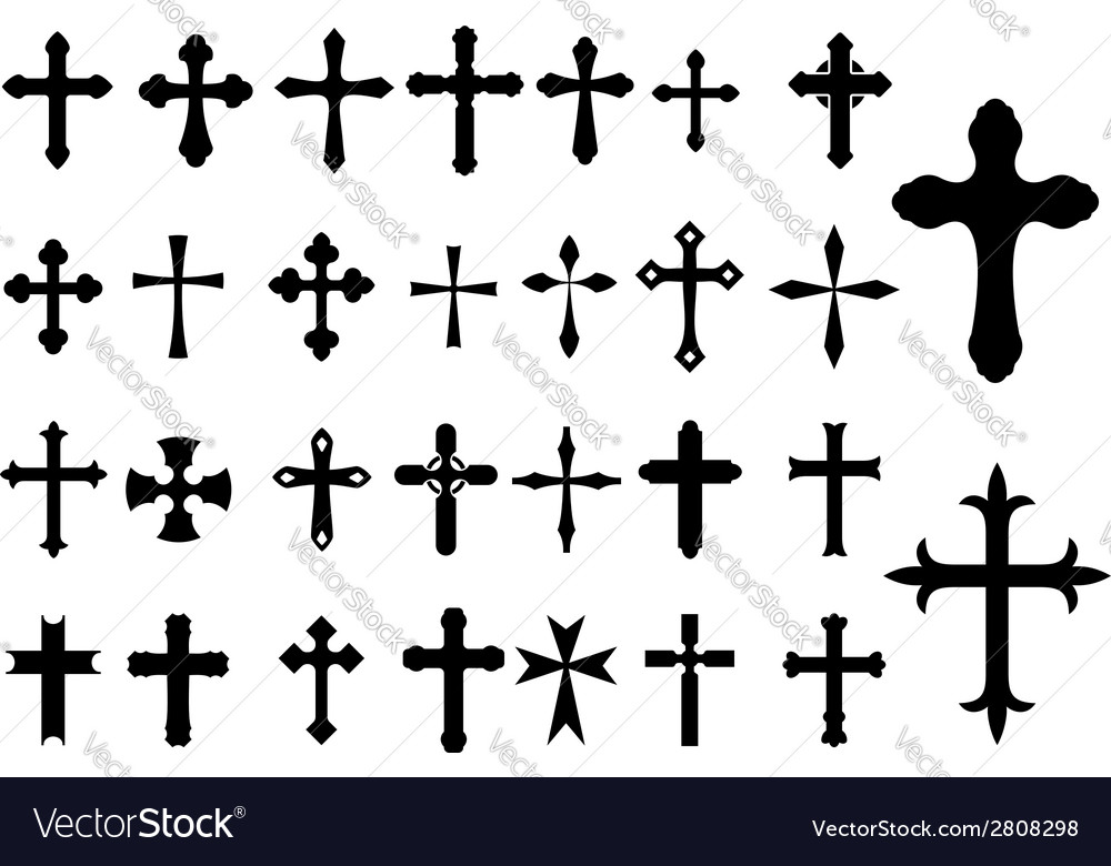 Religion cross symbols set vector | Price: 1 Credit (USD $1)