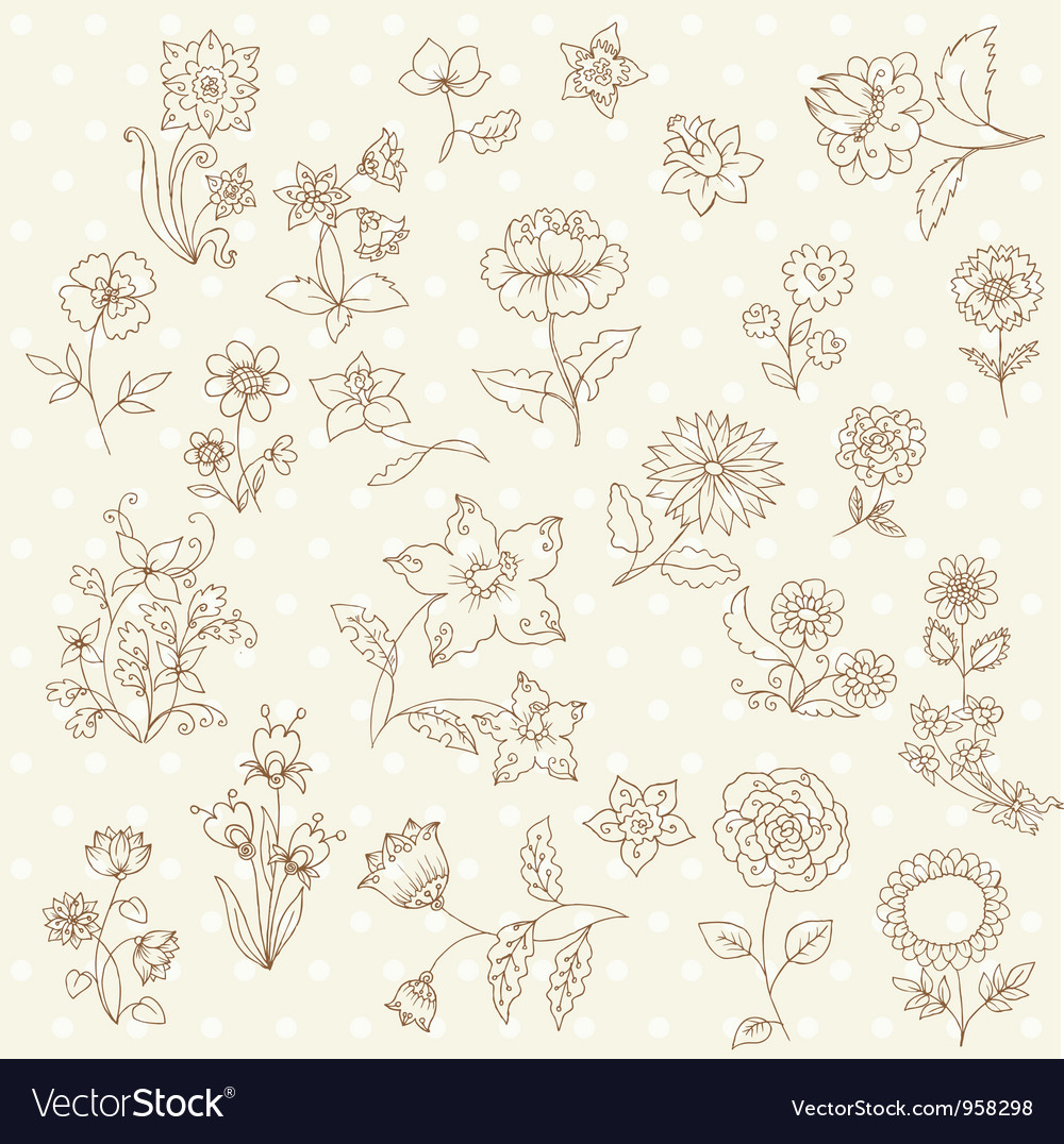 Set of hand drawn flowers vector | Price: 1 Credit (USD $1)