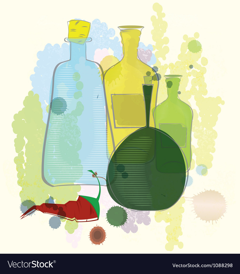 Water color bottles and red pepper vector | Price: 1 Credit (USD $1)