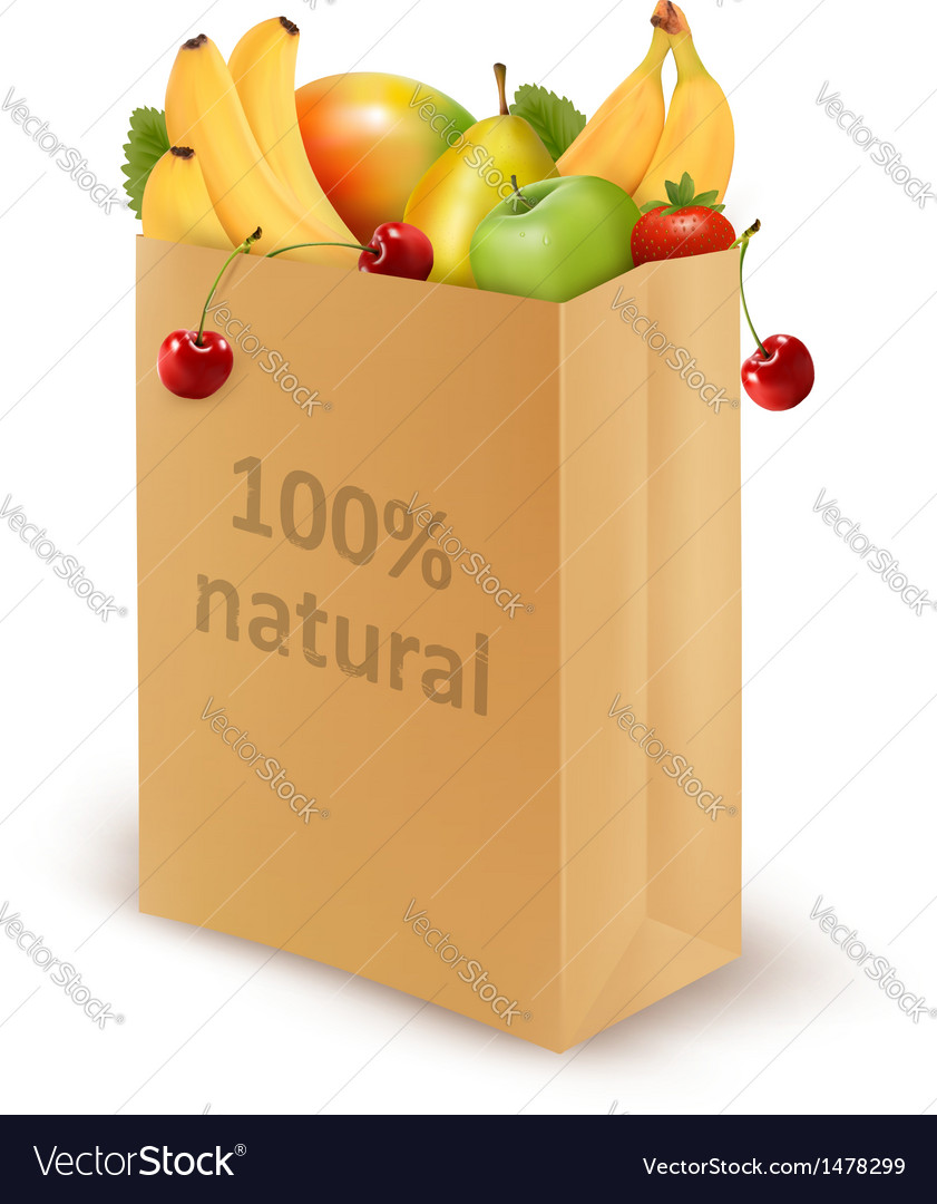 100 percent natural on a paper bag full of fresh vector | Price: 3 Credit (USD $3)