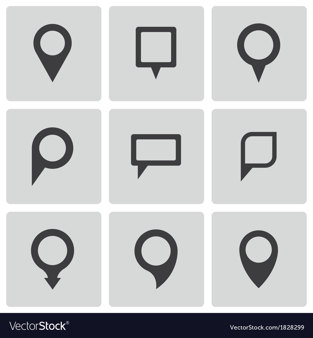 Black map pointer icons set vector | Price: 1 Credit (USD $1)