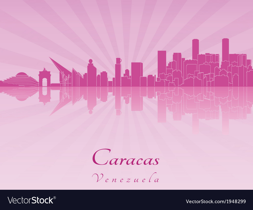 Caracas skyline in purple radiant orchid vector | Price: 1 Credit (USD $1)