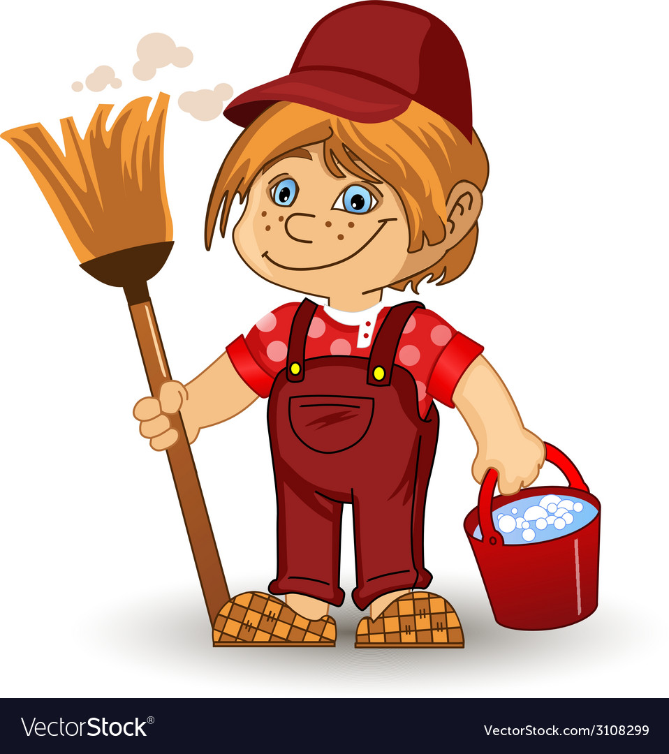Cleaning boy vector | Price: 1 Credit (USD $1)