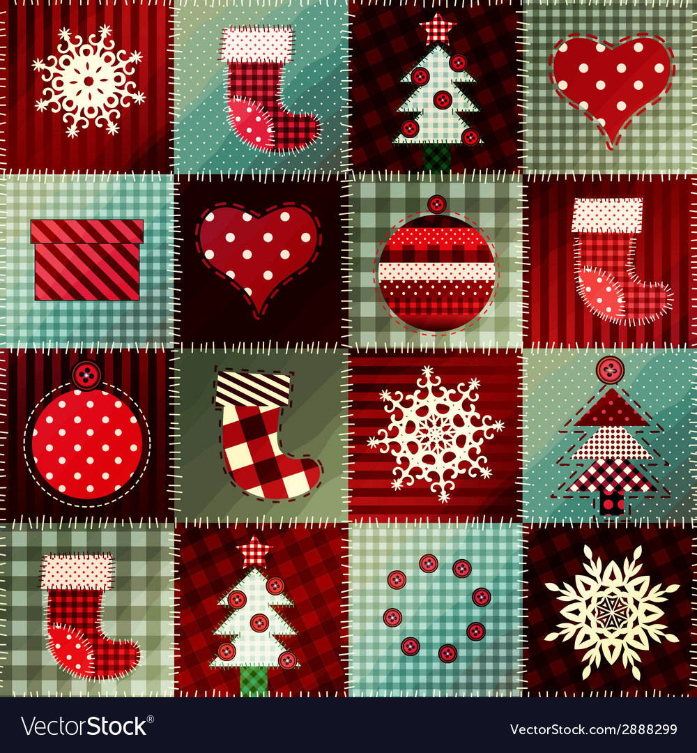 Cozy christmas pattern in patchwork vector | Price: 1 Credit (USD $1)