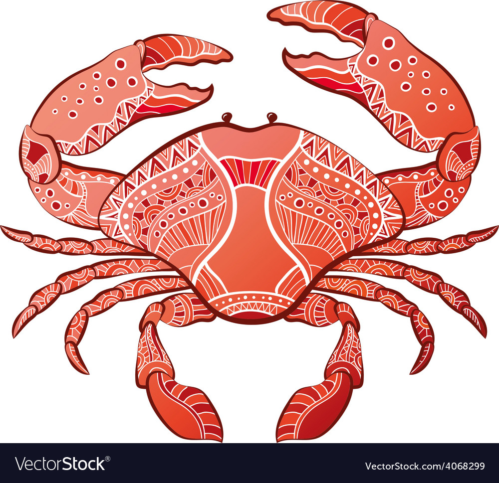 Decorative isolated crab vector | Price: 1 Credit (USD $1)