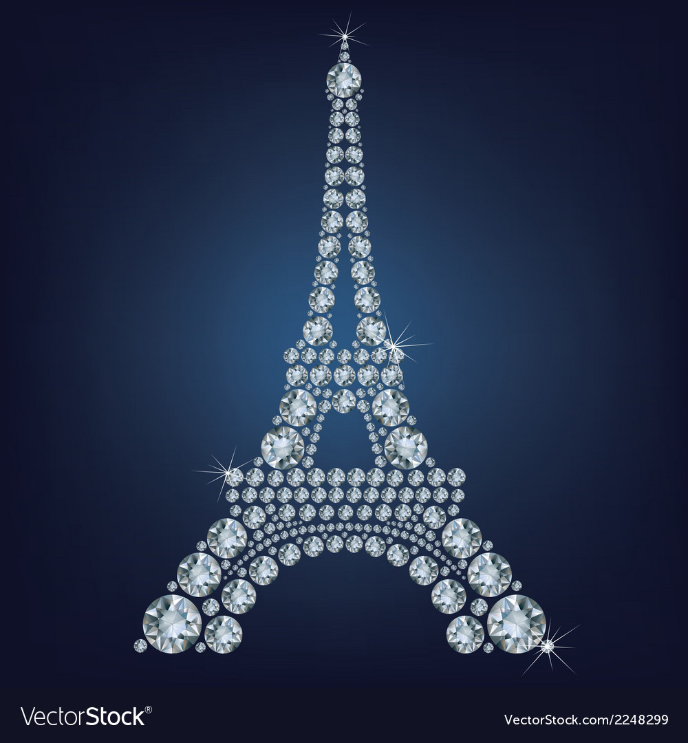 Eiffel tower - paris made up a lot of diamonds vector | Price: 1 Credit (USD $1)