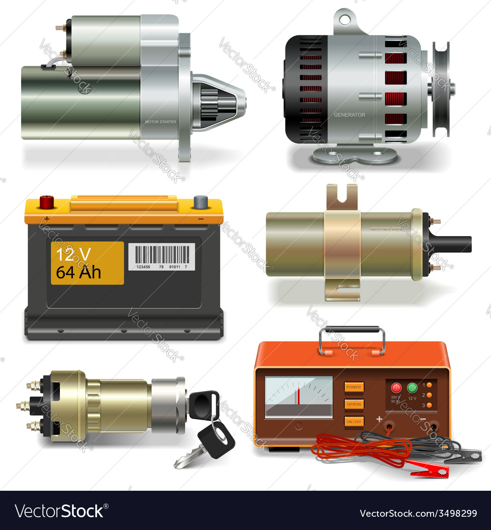 Electric car parts icons vector