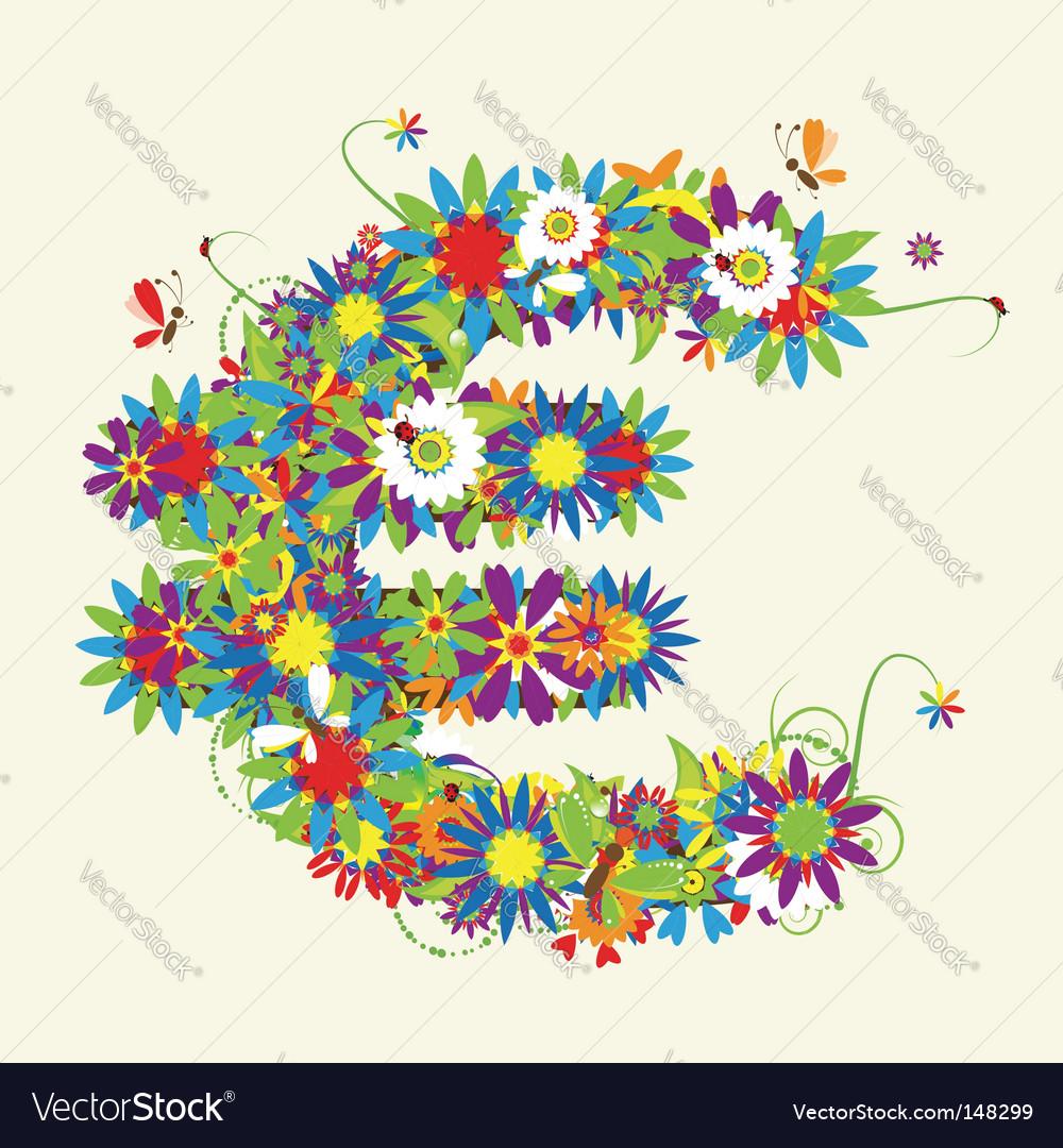 Euro floral design vector   Price: 1 Credit (USD $1)