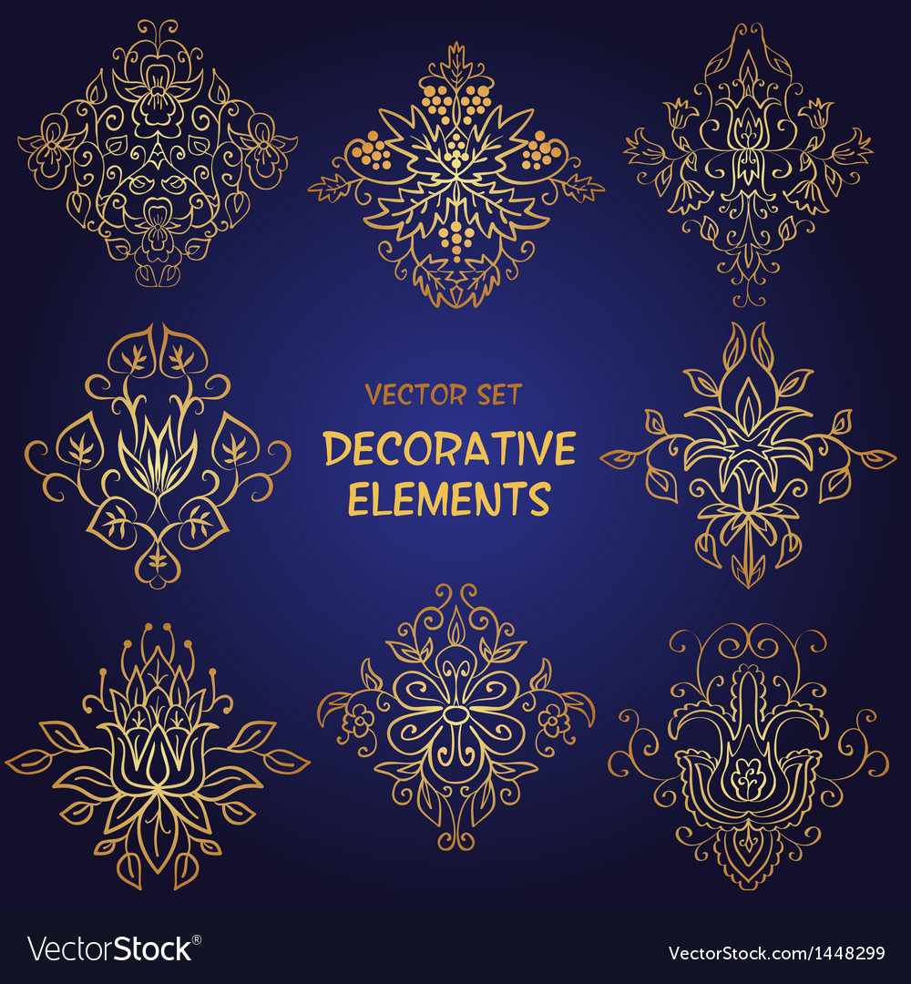 Golden decorative floral elements vector | Price: 1 Credit (USD $1)