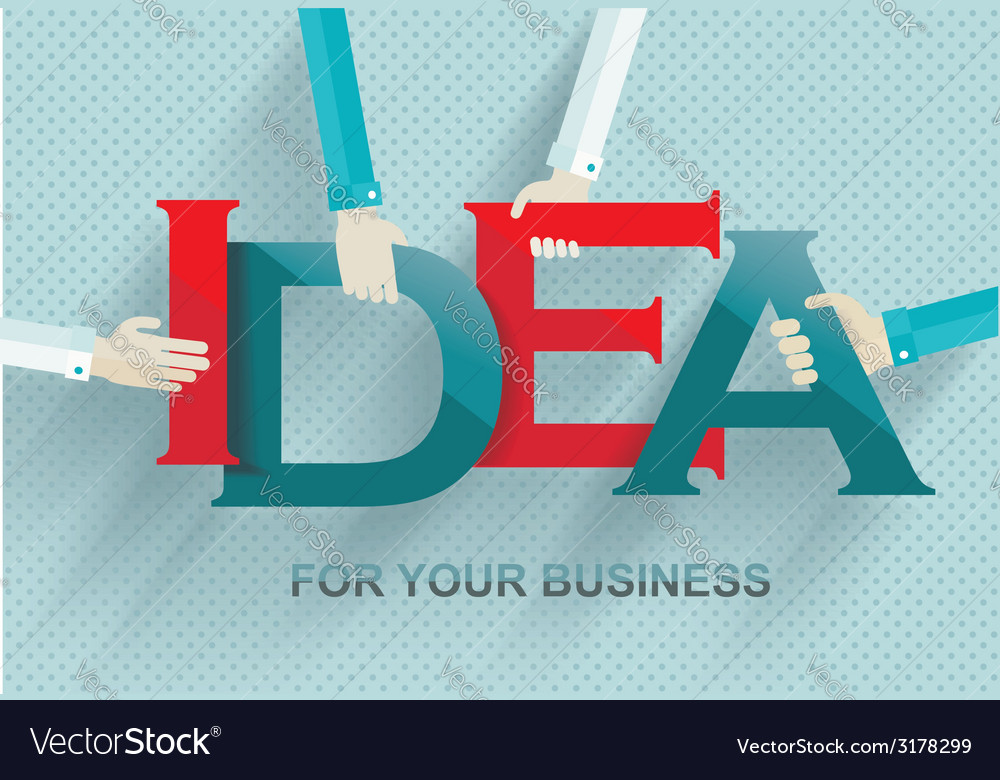 Idea concept with human hands retro style vector | Price: 1 Credit (USD $1)