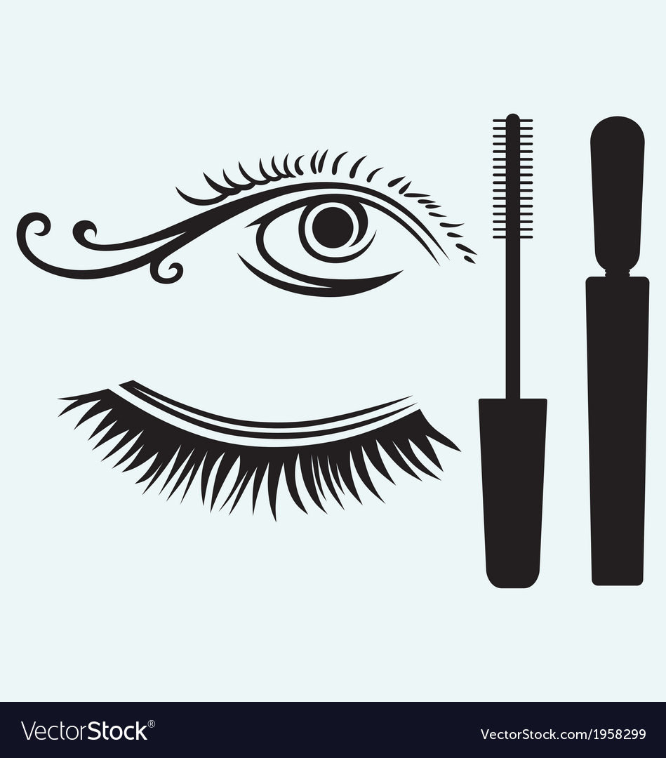 Ink for eyelashes and eye vector