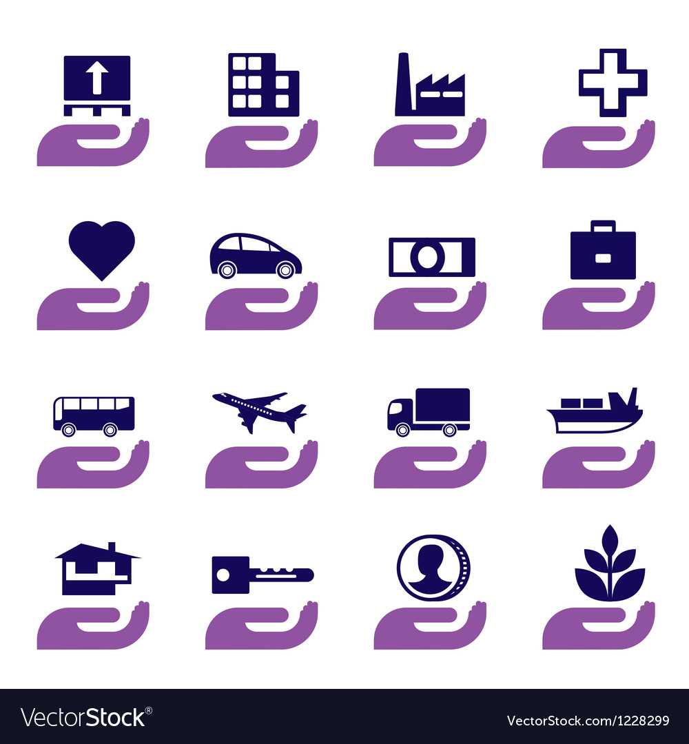 Insurance icons set vector | Price: 1 Credit (USD $1)