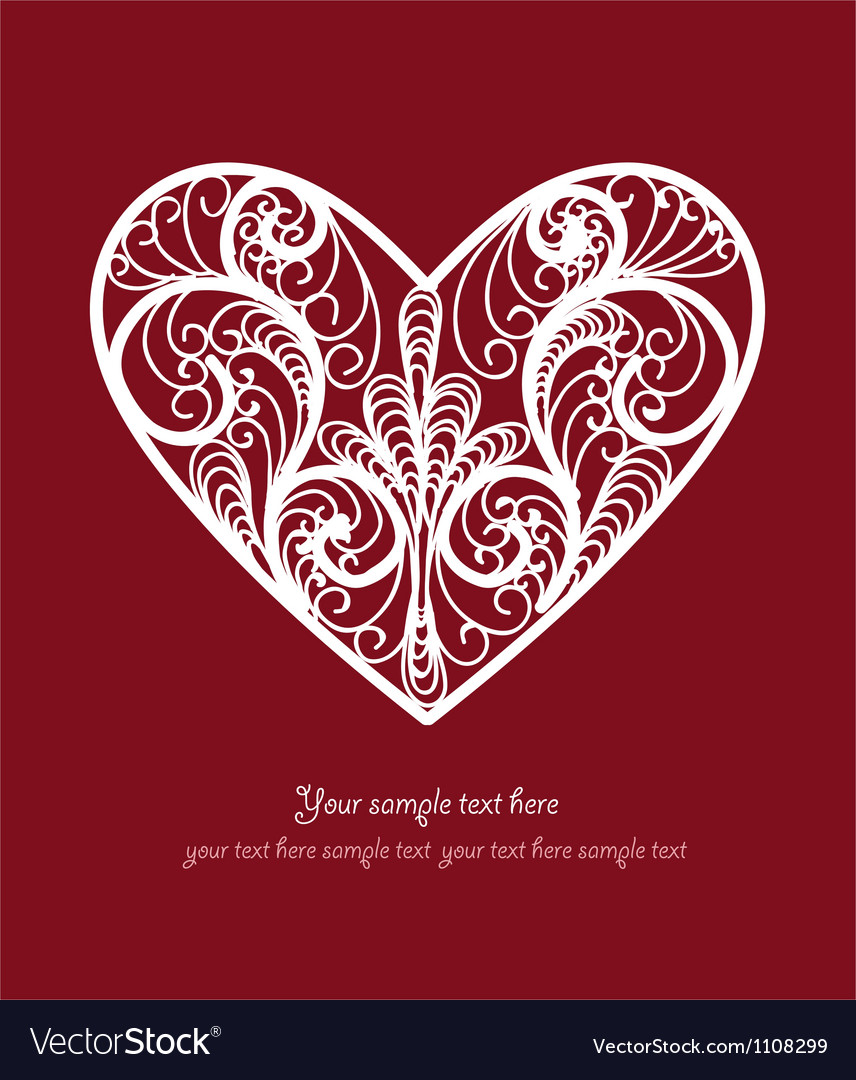 Ornamental heart postcard vector | Price: 1 Credit (USD $1)