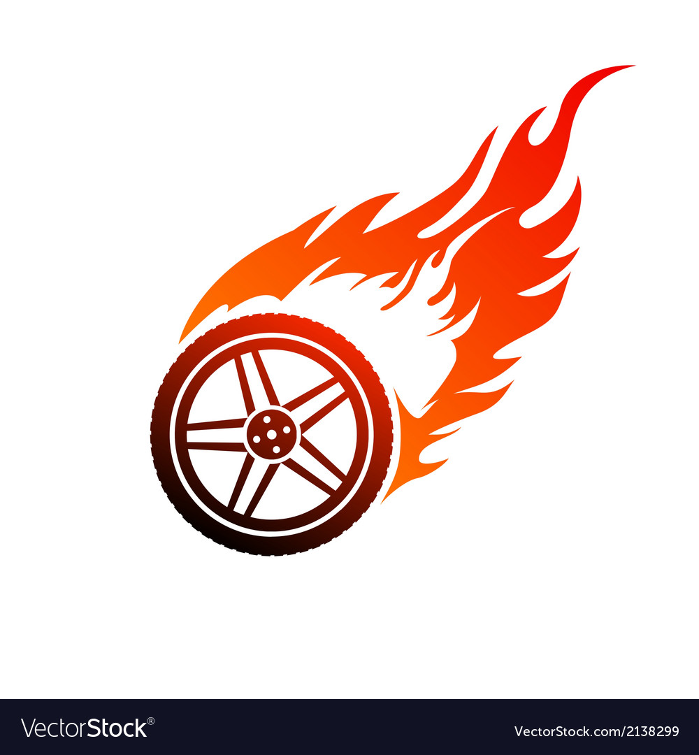 Red and orange burning car wheel vector | Price: 1 Credit (USD $1)