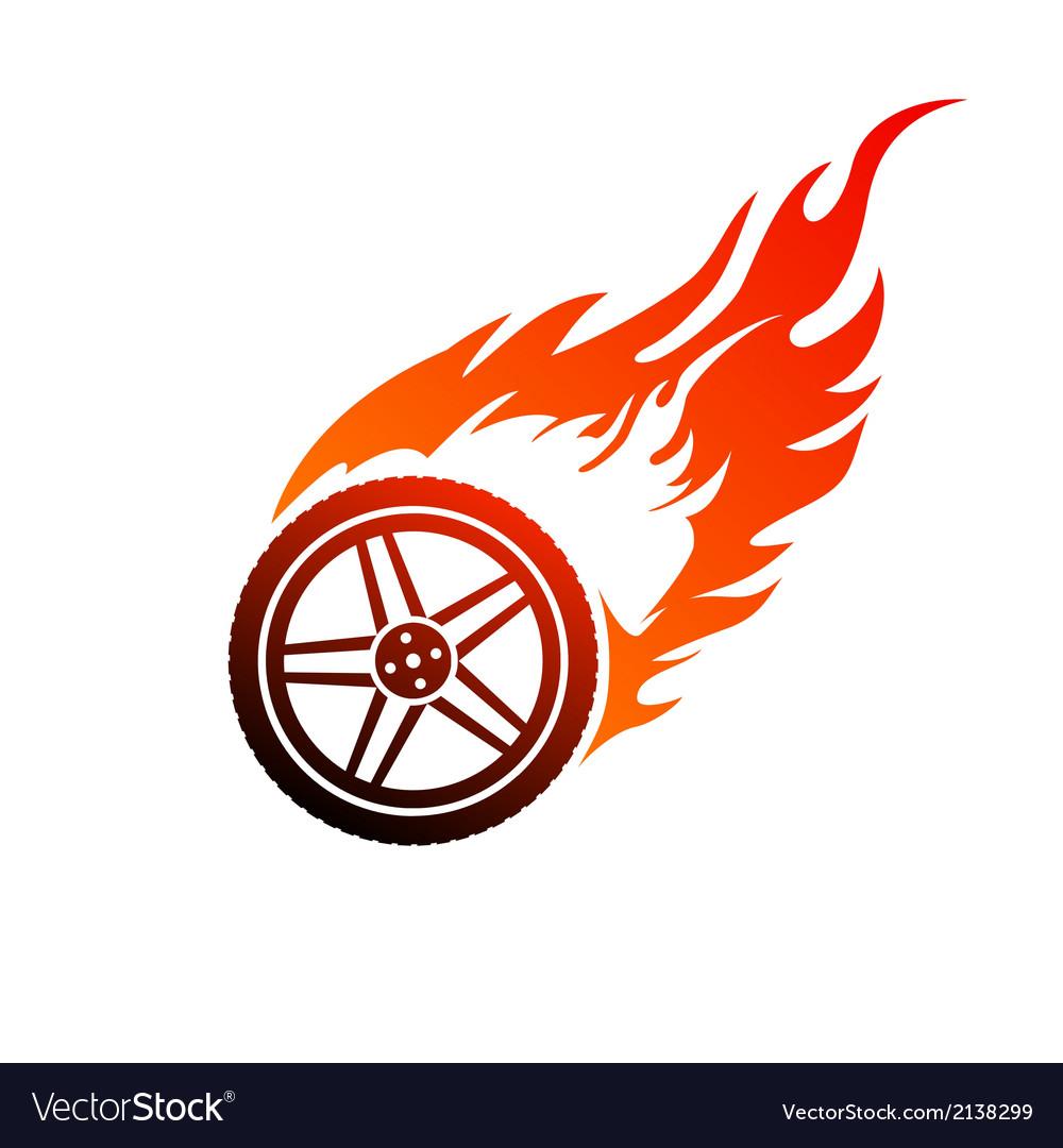 Red and orange burning car wheel vector | Price: 1 Credit (USD $1)