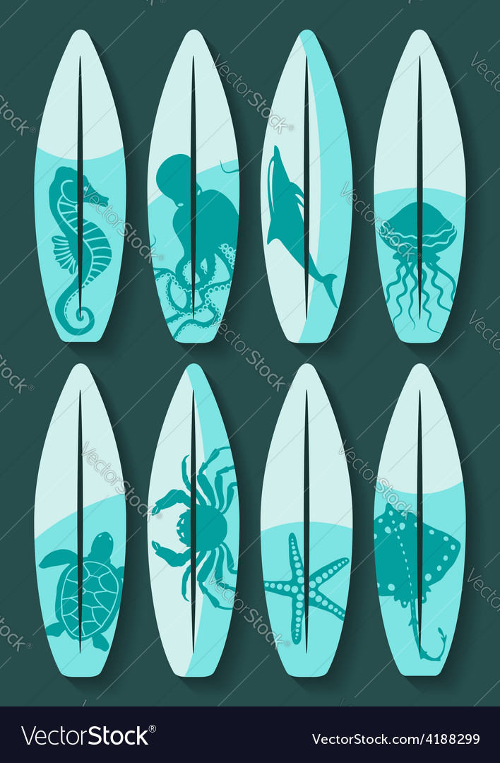 Surfboards set with blue sea creatures drawing vector | Price: 1 Credit (USD $1)