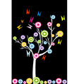Abstract white tree with stylized fruits and vector