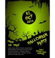 Halloween party flyer template - green vector