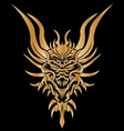 Golden dragon tattoo on background vector