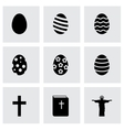 Black easter icon set vector