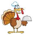 Happy turkey chef serving a platter vector