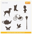 Silhouettes birds and objects set vector