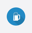 Glass of beer flat blue simple icon with long vector