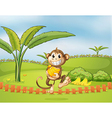 A monkey running away with bananas vector