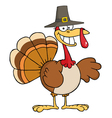 Thanksgiving pilgrim turkey bird smiling vector