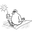 Chicken on the beach coloring page vector
