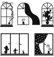Set of images of windows with flowers vector