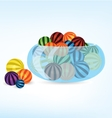 Colorful balls in bowl vector