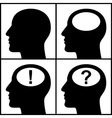 Set of silhouettes of heads vector