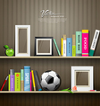 Row of colorful books on shelf vector