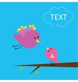 Flying bird and baby bird card vector