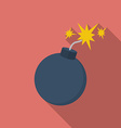 Icon of bomb with sparkles flat style vector