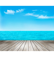 Nature background with a wooden deck the sea and vector